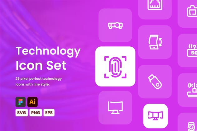 Technology Line Icon Set