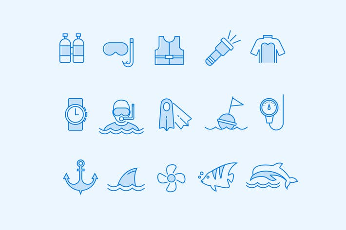 Thumbnail for 15 Scuba and Diving Icons