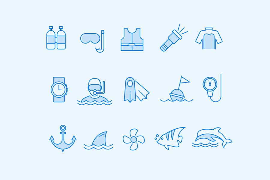 15 Scuba and Diving Icons