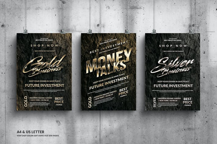 Thumbnail for Gold Business Flyer Design Set - A4 &  US Letter