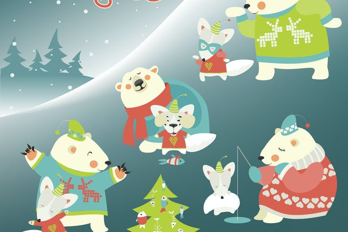 Thumbnail for Set of cute polar bear and funny arctic fox.