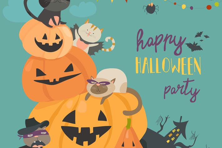 Thumbnail for Happy halloween with pumpkin and cute cats