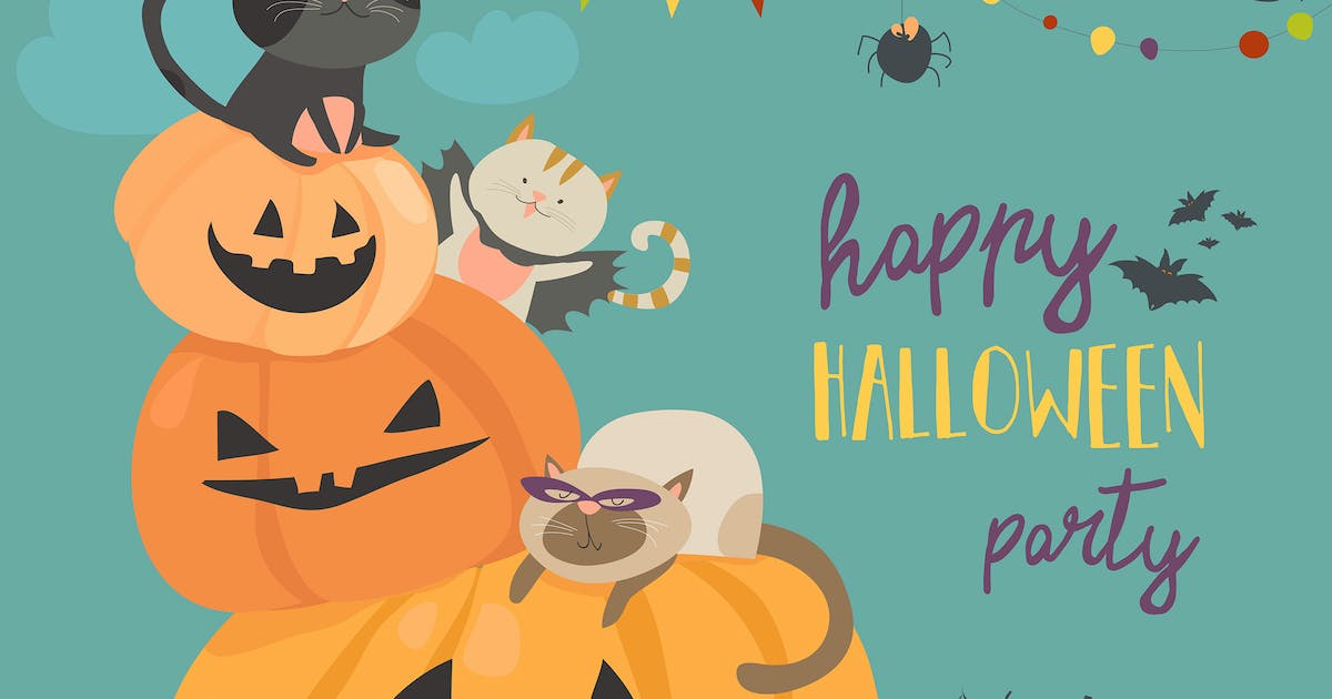 Download Happy halloween with pumpkin and cute cats by masastarus