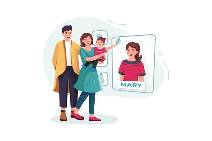 Family couple with baby choosing nanny online.