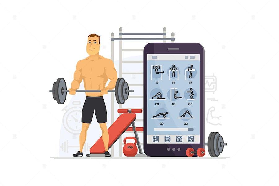 Fitness app - cartoon character illustration