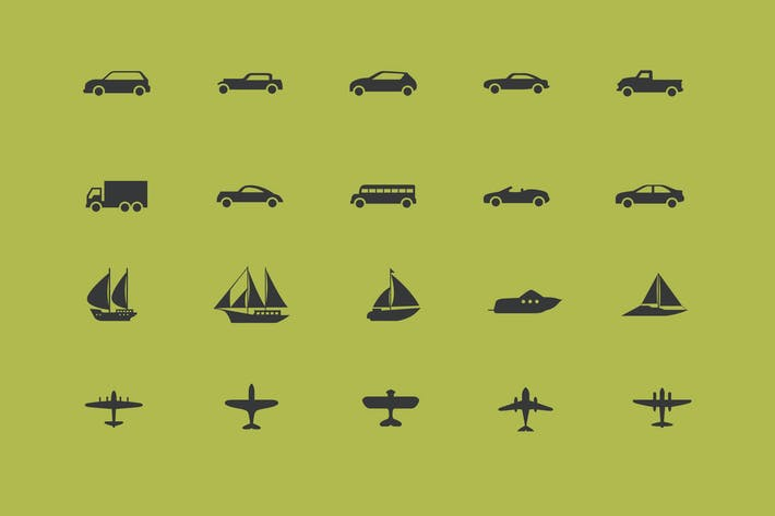 Thumbnail for Vehicles Icons / 3 Different Sheets