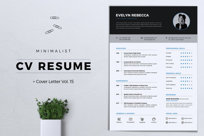 Thumbnail for Minimalist CV Resume Vol. 15
