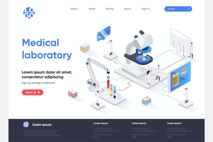 Thumbnail for Medical Laboratory Isometric Landing Page Template