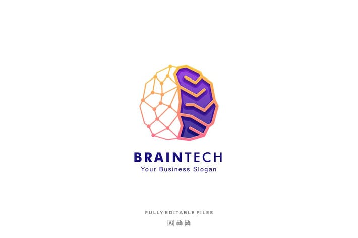 Thumbnail for Brain Tech Color Line Art Style Logo Template