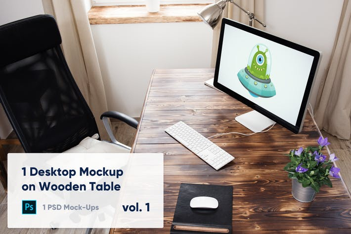 Thumbnail for 1 Desktop Mockup on Wooden Table vol. 1