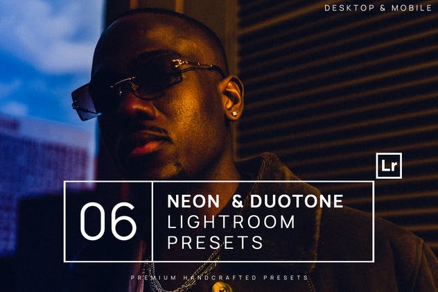6 Neon & Duotone Lightroom Presets + Mobile