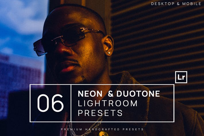 Thumbnail for 6 Neon & Duotone Lightroom Presets + Mobile
