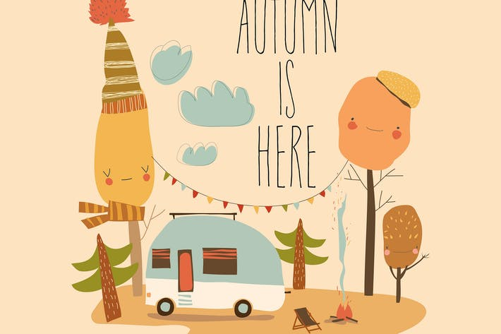 Thumbnail for Little trailer standing in autumnal forest. Vector