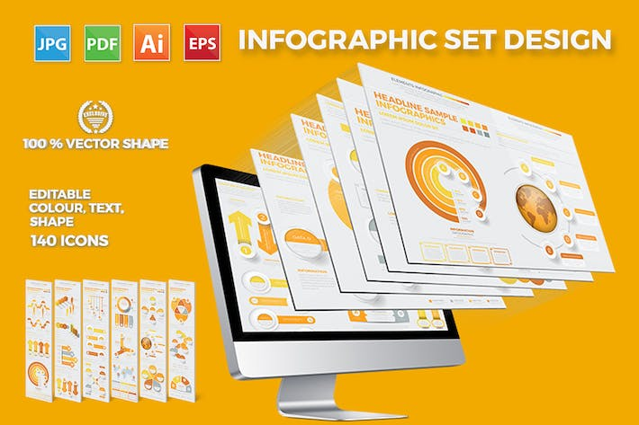Thumbnail for Yellow Infographics Template