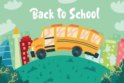 Back To School Bus - Ilustración Vector