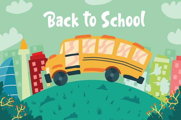 Back To School Bus - Vector Illustration