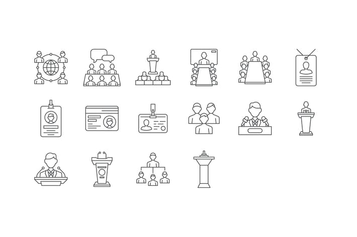 Thumbnail for 16 Conference Line Icons