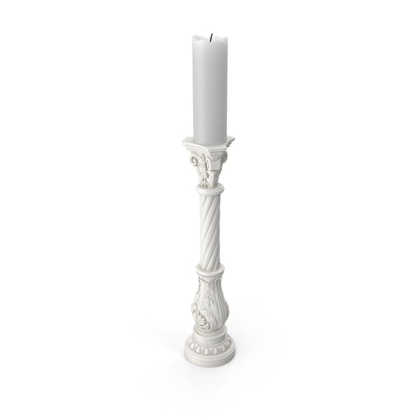 White Baroque Candle Holder