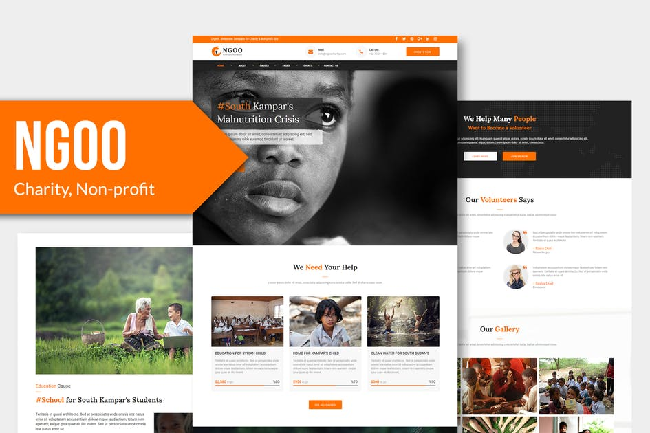 Download NGOO - Charity, Non-profit, HTML Template by Rometheme