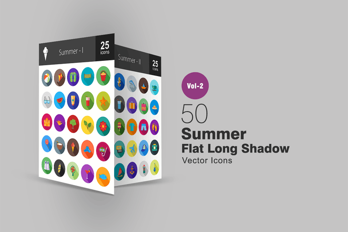 Thumbnail for 50 Summer Flat Long Shadow Icons