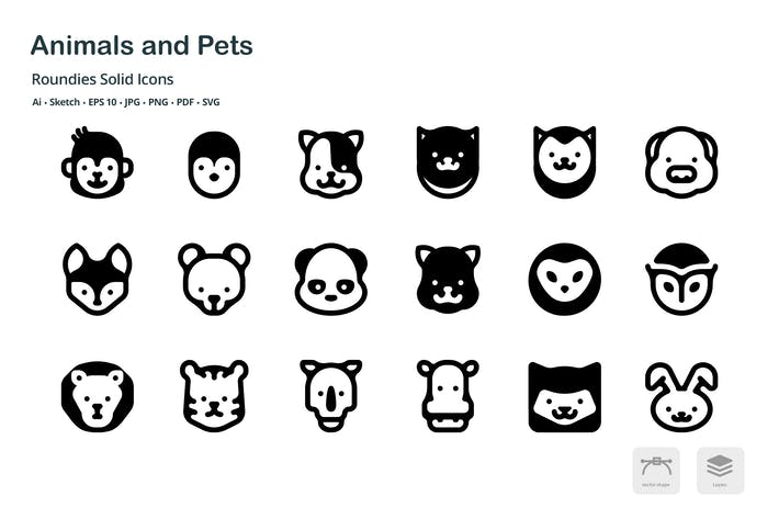 Thumbnail for Animals and Pets Roundies Solid Glyph Icons
