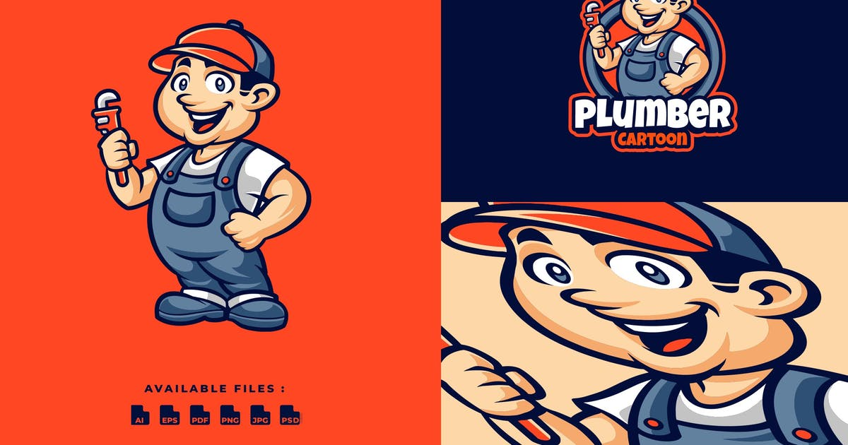 Download Plumber Cartoon Mascot Character Business Logo by Blankids