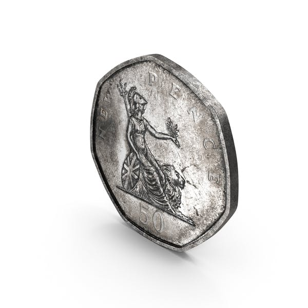 50 Pence Coin Aged