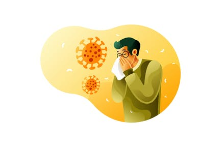 Sick man sneezes because of coronavirus