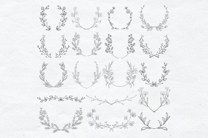 Thumbnail for Drawn Floral Elements, Branches, Laurels