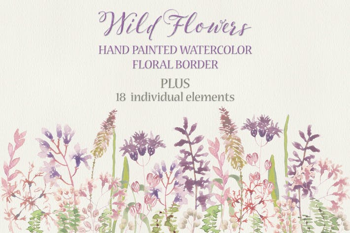 Thumbnail for Wild Flower Border in Watercolors