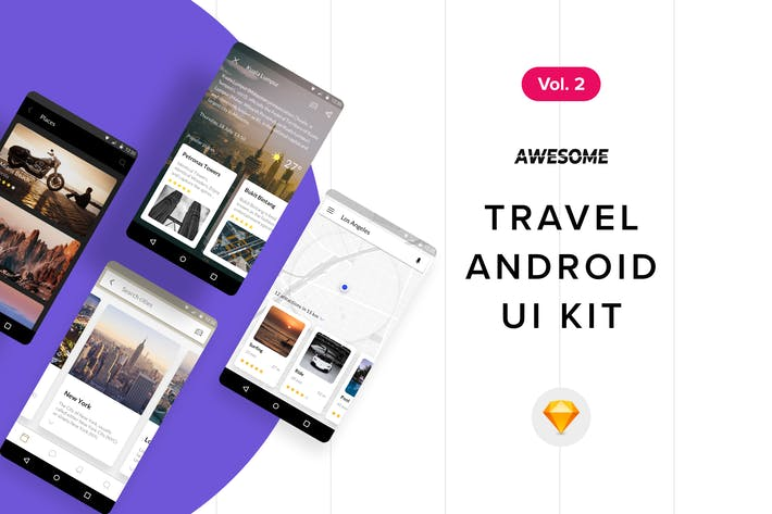 Thumbnail for Android UI Kit - Travel Vol. 2 (Sketch)