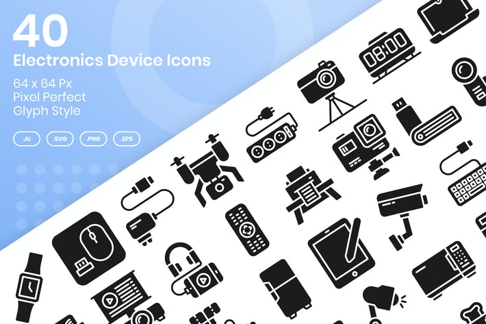 Thumbnail for 40 Elektronikgeräte-Icons Set - Glyphe