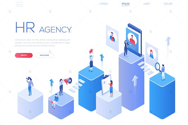 Thumbnail for HR agency - colorful isometric web banner