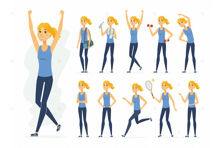 Thumbnail for Sportswoman - vector cartoon people character set