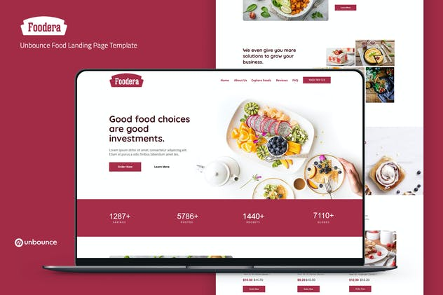 Foodera — Unbounce Food Landing Page Template