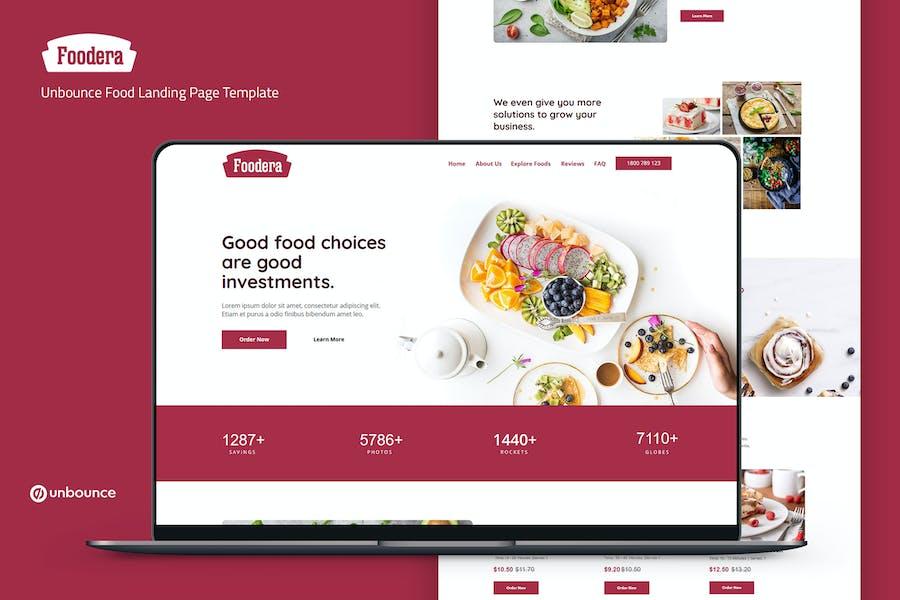 Foodera — Plantilla de página de destino de alimentos Unbounce