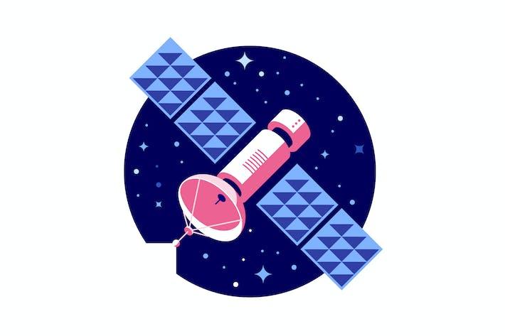 Cover Image For Pink satellite vector illustration