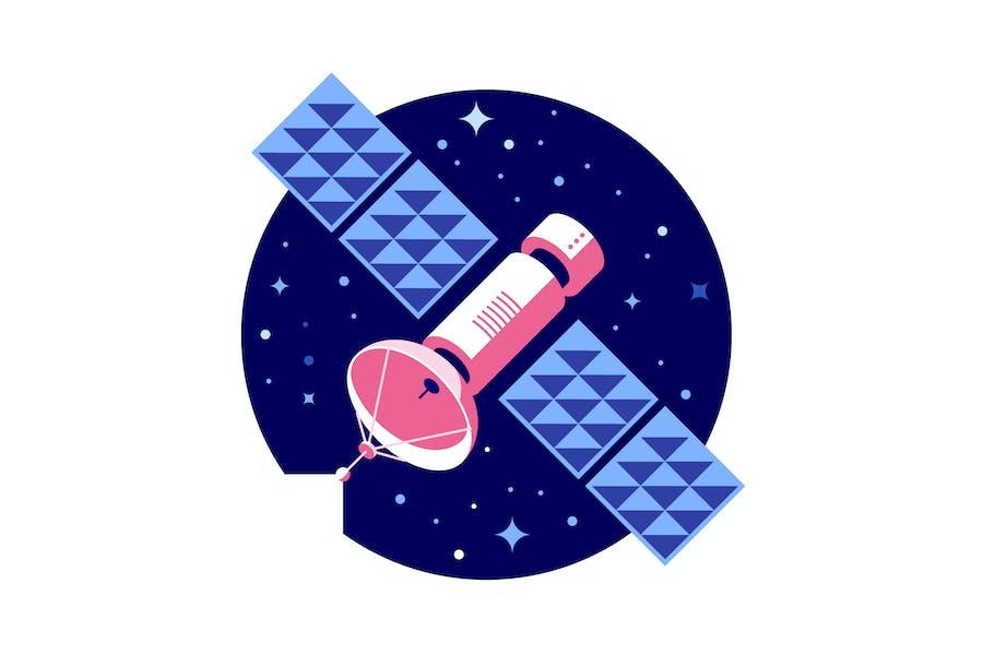 Pink satellite vector illustration