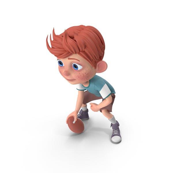 Cartoon Boy Charlie Playing Football