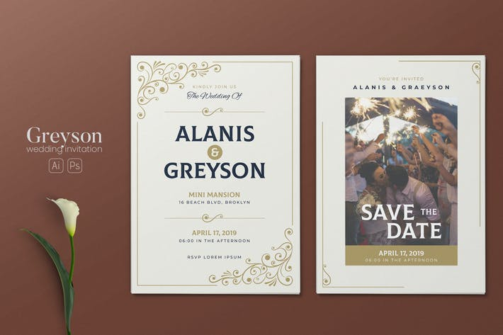 Thumbnail for Minimalist Wedding AI and PSD Invitation Vol.04