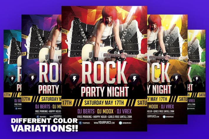 Thumbnail for Rock Party Night Flyer Template
