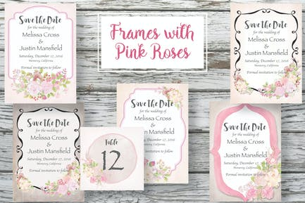 Frames with Pink Roses