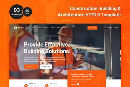 Promina - Construction and Building HTML5 Template