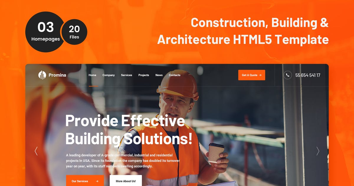 Download Promina - Construction and Building HTML5 Template by 7oroof