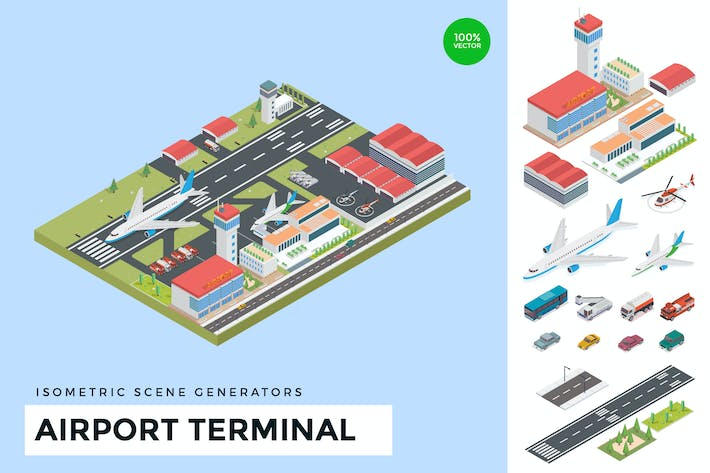 Thumbnail for Isometric Airport Terminal Vector Scene Creator