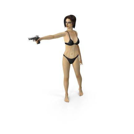 Bikini Girl Aiming Gun