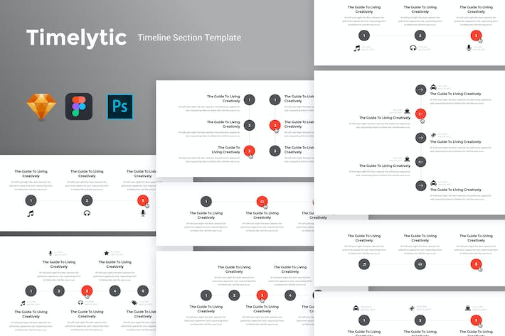Thumbnail for Timelytic - Timeline Section UI Kit Template