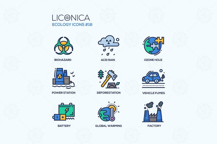 Thumbnail for Ecology - colorful line design style icons set