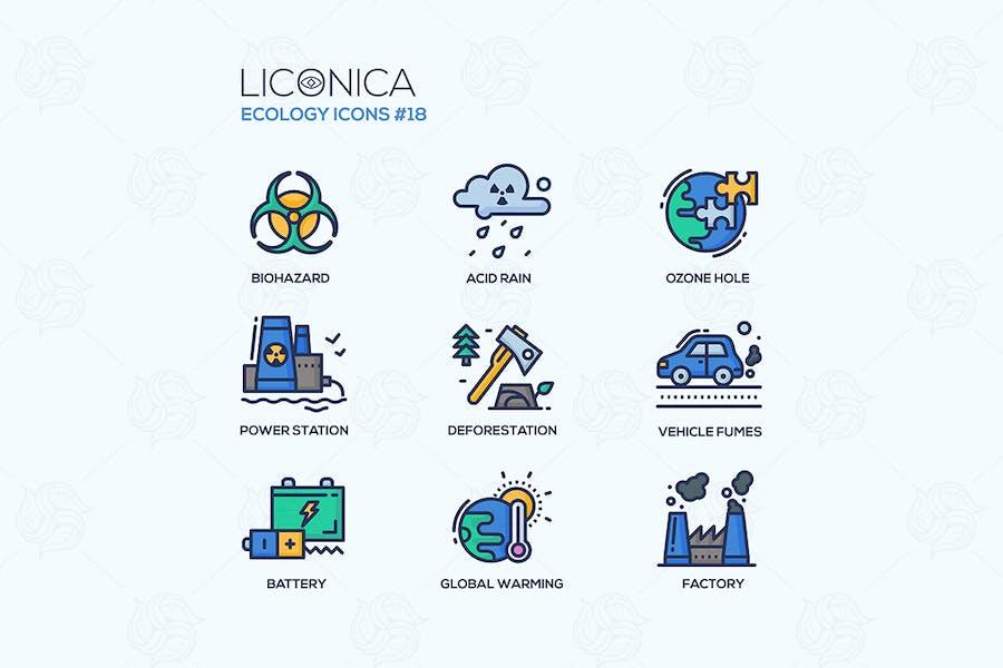Ökologie - bunte Linie Design Stil Icons Set