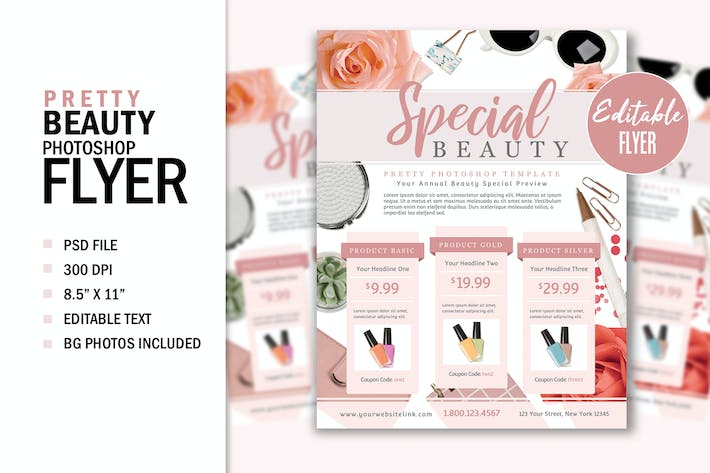 Thumbnail for Pretty Beauty Fashion Print Flyer Template Graphic